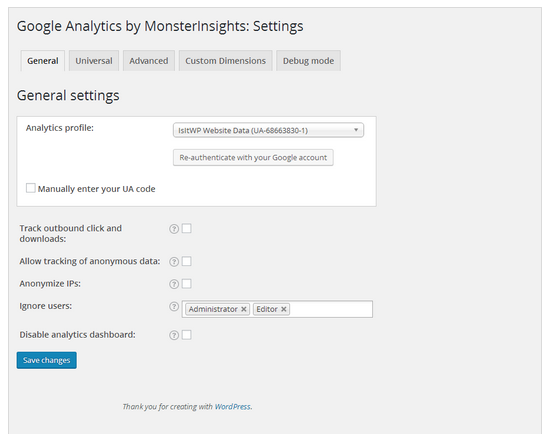 Sử dụng plugin Google Analytics by MonsterInsights