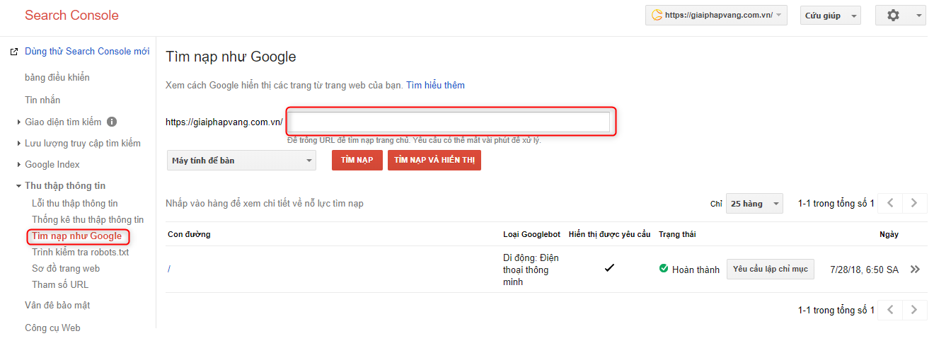 submit bang search console